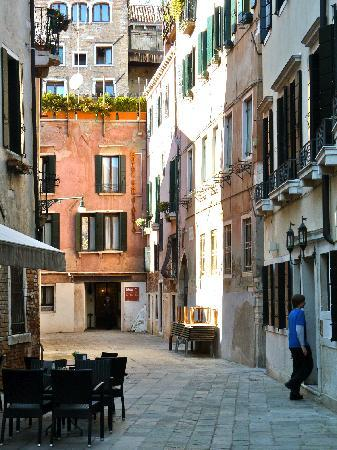 Hotel Ca' Fortuny: C\a Fortuny on the right, San Giorgio at the end of this quiet street