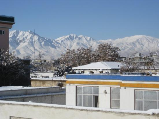 The majestic 14,000 ft mountains of Kabul from my balcony.