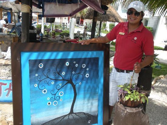 El Cid La Ceiba Beach Hotel: The painting I bought & the artist!