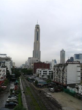Baiyoke Sky Hotel: Bangkok - the big building in the skyline is our hotel, the Baiyoke Sky, tallest building in Ban