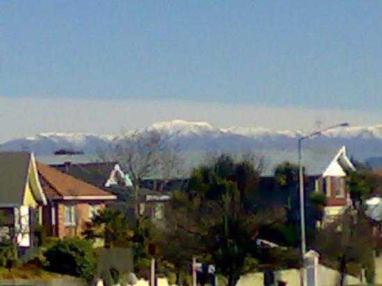 View of Southern Alps from park in Timaru
