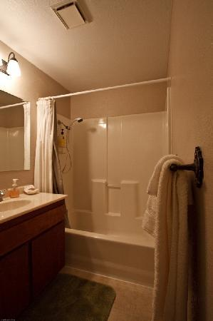 Sierra Mountain Lodge - Yosemite: Nice bathroom with a very handy double douchescreens which you can attach to the wall so nothing