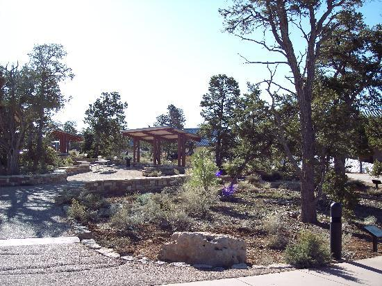 Canyon View Information Center: Picnic tables in middle of plaza
