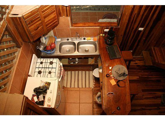 Disfrutalo Ranchos y Villas: looking down at the kitchenette from the loft