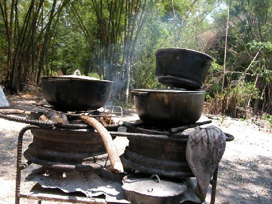 Sonia's: most of the cooking is done over open fire. generally you will not find her cooking inside.