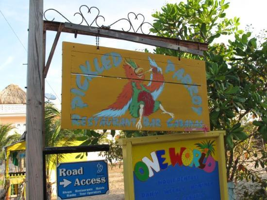 Plasencia, Belize : Pickled Parrot Pub.  Say that 3 times  fast