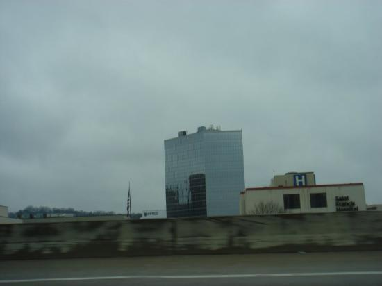 There's one of the modern buildings...tallest thing around, really. (Charleston, WV)
