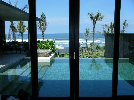 Soori Bali: View of private pool from living room