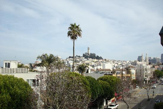 Columbus Motor Inn: view from our balcony toward Coit tower