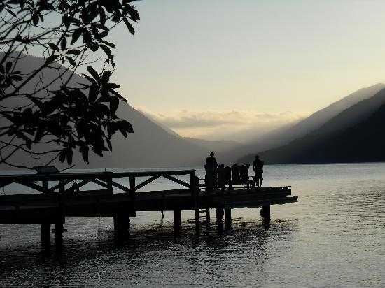 Crescent Lake: The dock at sunset