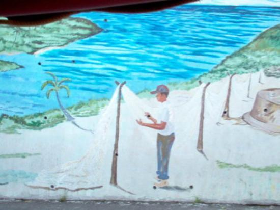 Road Town, Tortola: A mural at Carrot Bay