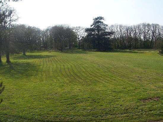 Chateau de Cop Choux : la pelouse vue par le devant du domaine