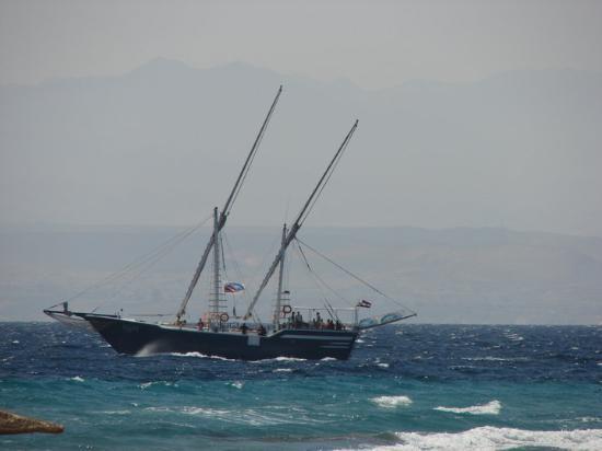 Taba, Egypt: В Табе из окна не бескрайнее Красное море, а  Акабский залив, на другом берегу - Саудовская Арав