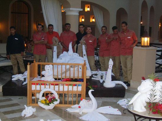 Jaz Almaza Beach Resort : Towel art display at the party, courtesy of housekeeping