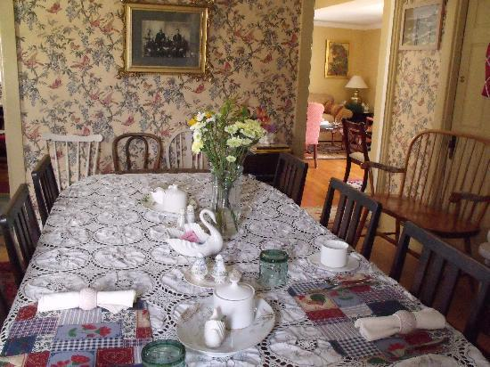 White Swan Bed and Breakfast: The dinning room has lots of character and seats 10