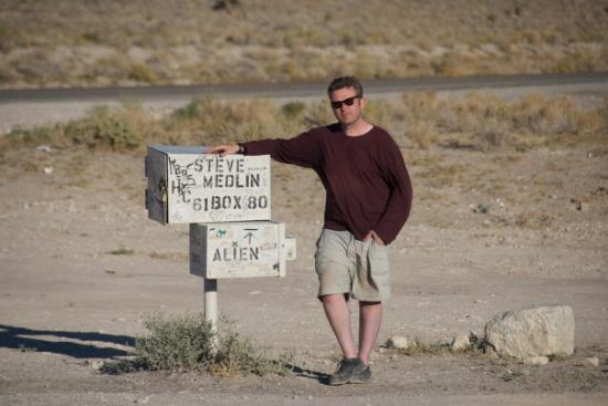 Rachel, NV: Checking the alien mailbox, at Area 51. Are you noticing an alien theme yet?