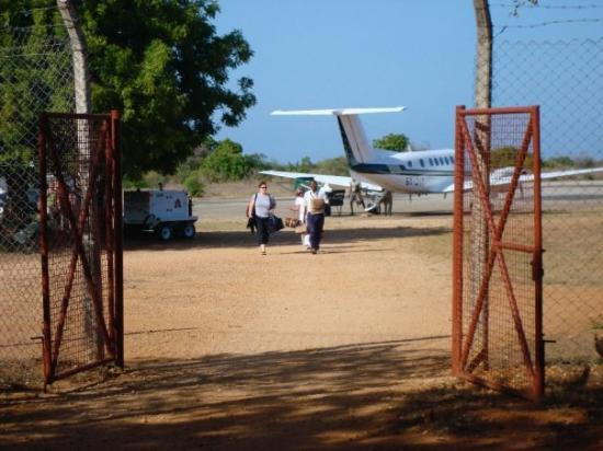 Lamu, Kenya: the airport...megan and draha arriving