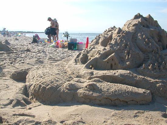Lewes Beach: alligator guarding a castle