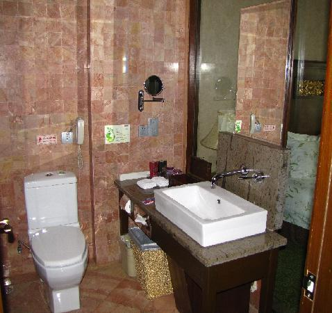 Hyder Jianguo Hotel: Bathroom with beautiful yet functional sink.