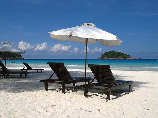 Coral Redang Island Resort: Deckchairs to lounge by the beach