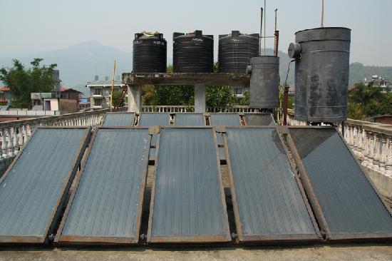 Sacred Valley Inn Pokhara: solar panels at the roof