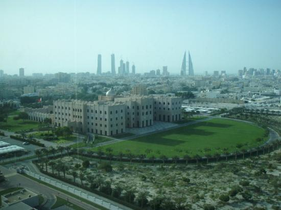 Manama, Bahrain: A palace with skyline in the background