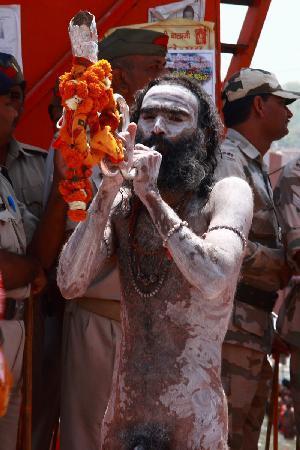 Haridwar, Inde : Naga sadhu