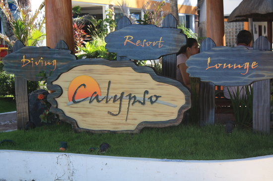 Calypso Diving School: The Resort entry sign