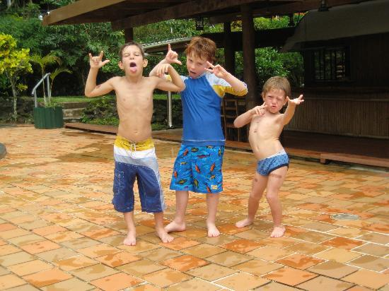 Daku Resort: The kids getting silly by the pool