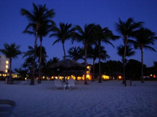 View of our hotel at night