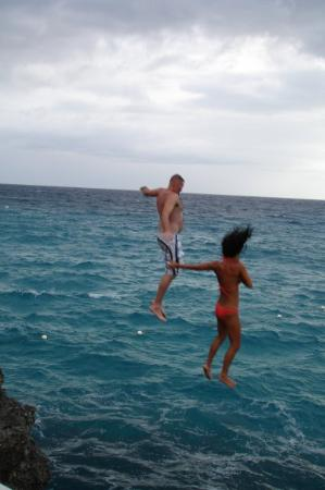 Jumping off the cliffs at The Caves