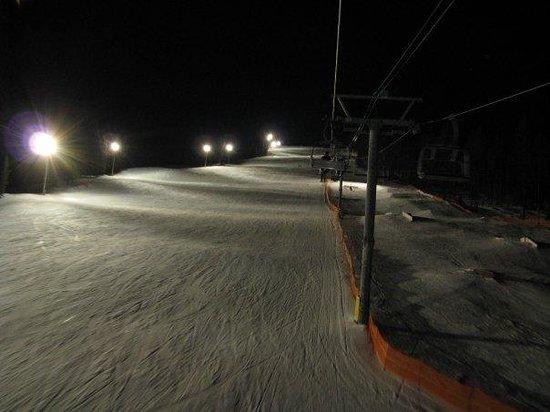 Kimberley Alpine Resort: looking down from chairlift ,night skiing