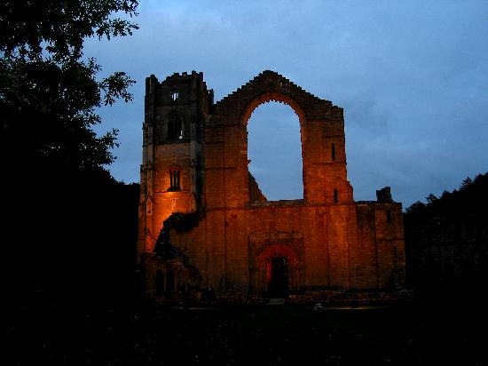 Fountains Abbey and Studley Royal Water Garden: Fountains at dusk - lighted from within