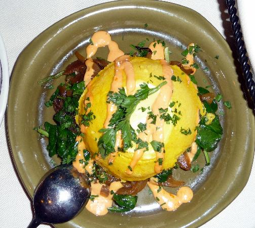 Trattoria A Mano: Savory Squash Flan on a bed of sauteed baby spinash and carmelized onions