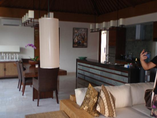 The Akasha Villas: the living room and dining area