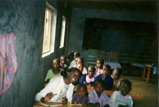 Kakamega, Kenya: Me coloring with the beautiful Kenyan babies!