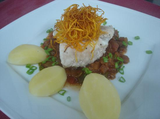 sago: Fish with ratatouille