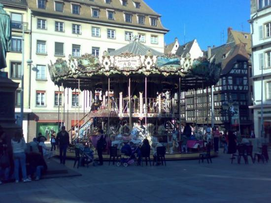 Christmas Market (Christkindelsmarik): In a square, old carousel for children