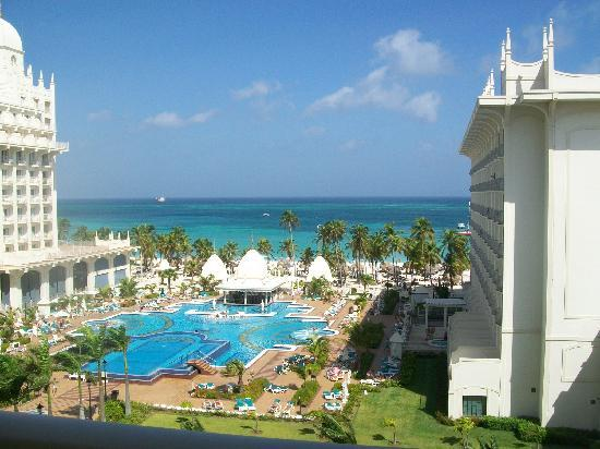 View of the pool and sea from Oceanview room