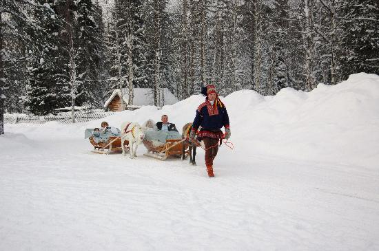 Snow Village : reindeer sleigh to the chapel