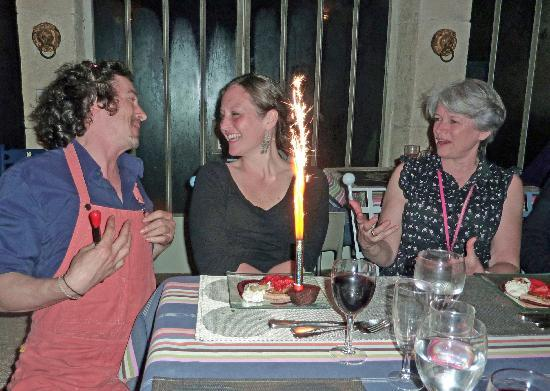 La Bastide Rose : A birthday at dinner made us feel like family (here's son/chef Emmanuel, the birthday girl, and