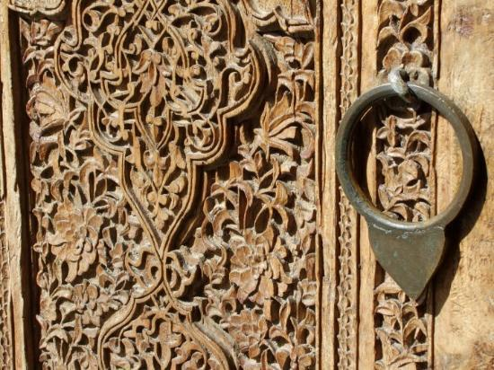 Shakhrisabz, Uzbekistan: One of the many handcarved wooden doors that are centuries old.