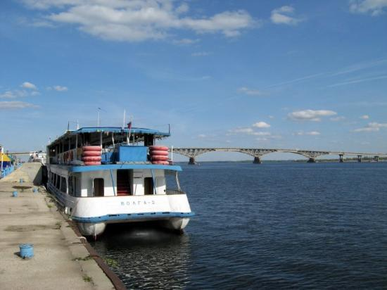 Volga River and Saratov Bridge