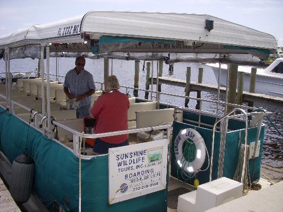 Sunshine Wildlife Eco Tours: Captain Nancy's Boat at the dock