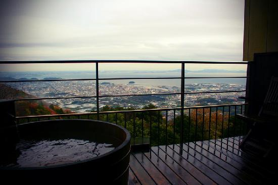 Tennomaru: our AMAZING view with our private in-suite hotspring!