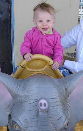 Beach Arcade: Little Girl Showing how Chic an Elephant Ride can be