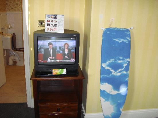 The Old Golf House Hotel Huddersfield: TV and the wallpaper damage