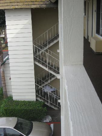 Ramada Costa Mesa/Newport Beach: the external stairwell we had to use every day- you can see the piles of laundry at the bottom