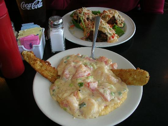 Boulevard Diner: Cheese Grits with Shrimp - fried pickles
