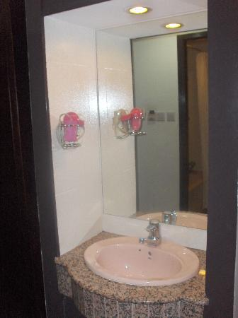Hotel 34: Closeup of the sink and pink hair dryer.  Sink worked well but could have used more counter spac